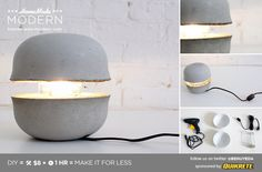 DIY $8 Modern Concrete Lamp Tutorial from HomeMade... - True Blue Me & You: DIYs for Creative People
