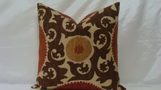 "Fahri Clove Designer Suzani Print Decorative Pillow Cover 20"" x 20"" - Clove Basket Weave - Rust,Red,Chocolate Brown and Sand. $46.00, via Etsy."