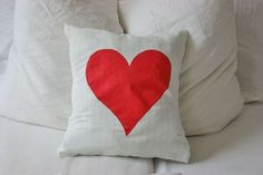 Pillow - Cover your pillow with love ;-) with this Pillowcover with a big red heart // Kissenbezug mit rotem Herz  - sustainable  - made from recycled fabric