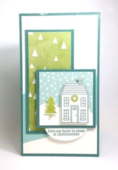 Holiday Home stamp set - designed by Mary Fish, Independent Stampin' Up! Demonstrator. Details, supply list and more card ideas on http://stampinpretty.com/2014/11/sweet-holiday-home-card-on-line-extravaganza-starts-today.html