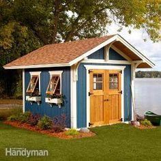 Family Handyman's Dream Shed Made Easy-tips to make it on a budget such as using barn windows