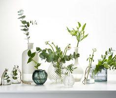 """""""Dela upp buketten i flera vaser i olika former storlekar och för ett vackert stilleben #stilleben #vas #glas #bukett #inspiration #deko"""""""