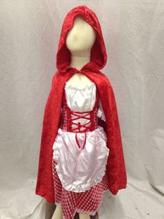 Little Red Riding Hood Costume Cosplay Deluxe Hooded Cape Dress Boutique NEW…
