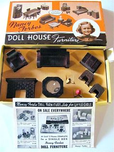 Vintage Doll House Furniture Boxed Set Nancy Forbes Living Room
