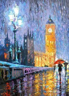 Items similar to Night London in rain OIL PAINTING on canvas by Dmitry Spiros, size x 70 cm, 40 x 28 in, 2016 on Etsy Rain Painting, City Painting, Oil Painting On Canvas, Painting & Drawing, Old Paintings, Landscape Paintings, Original Paintings, Country Paintings, London Painting