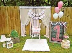 Rustic Milk and Cookies Party {Pink First Birthday} Outdoor set up. JR Good backdrop idea for pics Vintage First Birthday, Pink First Birthday, 1st Birthday Photos, First Birthday Parties, Birthday Party Themes, Girl Birthday, Birthday Ideas, Rustic Birthday, Girl Parties
