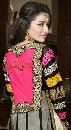 Latest, stylish, designer, floor length long Anarkali dress, looks different because of Perfect combination of pink & silver coloured fabric and crafty touch of embroidery on chest, wrist, arms, neck, back & bottom part. multicolor ribbon, lace & patch work on full-sleeves, dupatta and bottom-part of dress gives smart look to Indian celebrity Shraddha Kapoor.