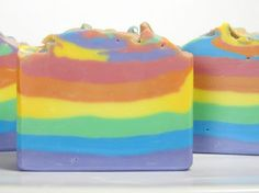 Rainbow cold process soap tutorial.