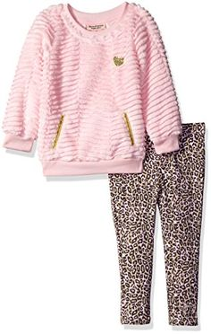 Juicy Couture Little Girls Toddler Faux Fur Top with Pockets and Printed Pant Set Pink 4T * Check this awesome product by going to the link at the image.Note:It is affiliate link to Amazon. #GirlsDressUp