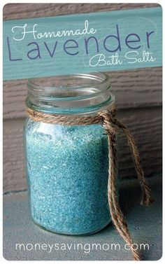 LAVENDER BATH SALTS 1 cup Epsom salt 1/2 cup sea salt 10 to 15 drops of lavender essential oil 4-8 drops food coloring, optional (I used blue.) In a mixing bowl, stir together all ingredients until well blended. Transfer to an airtight container and let rest for a few days to give time for the oil to infuse the salts. To use: Add 4 to 6 Tablespoons of Lavender Bath Salt to warm running bath water. Enjoy a refreshing and relaxing bath soak! PLEASE PASS ON TO OTHERS