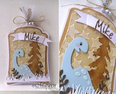 Gift tag by DT member Marleen with Collectables Eline's Dinosaur (COL1400), Charming Alphabet (COL1397), Banners XL (COL1398), Craftables Banner XL & Banners XS (CR1353), Grass (CR1355) and Design Folder Extra - Stars (DF3408) from Marianne Design