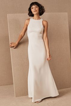 Make a sparkling statement in this modern dress with a clean skirt and sequined bodice, perfect for any occasion that calls for some extra glamour.Online exclusiveOnly available at BHLDN Affordable Wedding Dresses, Luxury Wedding Dress, Dream Wedding, Wedding Dresses Pinterest, Minimalist Wedding Dresses, Little White Dresses, Custom Dresses, Women's Dresses, Party Dresses