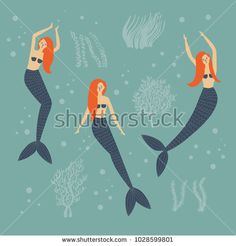 Under the sea card with mermaids, algae, seaweed and bubbles. Simple and cute illustration of red haired siren or sea princess.