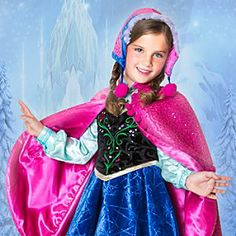 Again - I want this for me! ->Disney Anna Limited Edition Costume for Girls - Frozen   Disney StoreAnna Limited Edition Costume for Girls - Frozen - She will warm to the role of Anna in this spectacular limited-edition costume. Beautifully detailed with brocade cape and glittering velvet dress, it will transport her and and her imagination to Frozen's wintry kingdom.