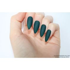 Matte dark green stiletto nails, Fake nail, Stiletto nail, Kylie... (€12) ❤ liked on Polyvore featuring beauty products, nail care, nail treatments and nails