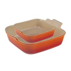 Le Creuset 8x8-in. Square Heritage Collection Baking Dish with Bonus Baker, Flame Orange by Le Creuset. $44.95. Material: Stoneware. Origin: Thailand. Cleaning & Care: Dishwasher Safe. Warranty: Limited Lifetime. Special Features: Microwave, Freezer and Oven Safe. When you purchase this 8x8-in. square baker you'll receive a 5x5-in. square baker for free! Le Creuset's Stoneware is truly an All-in-One Dish that you can bake, slice, serve and store in. Stoneware can be used in the...