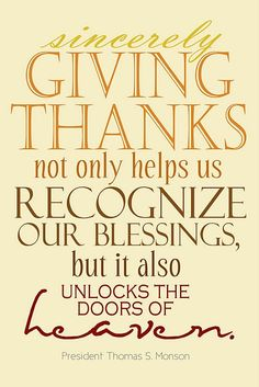 Giving Thanks...Unlocks the Doors of Heaven  {Free Printable}
