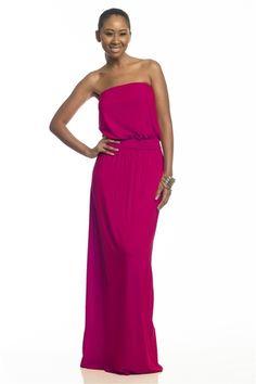 TALL WOMENS MAXI DRESS ~ ISABELLA STRAPLESS MAXI DRESS ~ MAGENTA