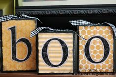 I made these last year, following this site's directions slightly. I used scrapbook paper in Halloween themes and then bought the wooden letters, and painted them the colors I wanted. Really simple and really cute!