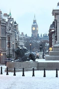 Trafalgar Square in snow. London.