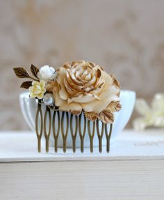 Items similar to Bridal Hair Comb Gold Ivory Rose Shabby Chic Ivory Flower Antique Gold Leaf Country Wedding Rustic Wedding Hairpiece Bridal headpiece on Etsy Hairdo Wedding, Hair Comb Wedding, Wedding Hair Pieces, Bridal Hair, Bridal Beauty, Evening Hairstyles, Wedding Hairstyles, Flower Collage, Bridal Headpieces