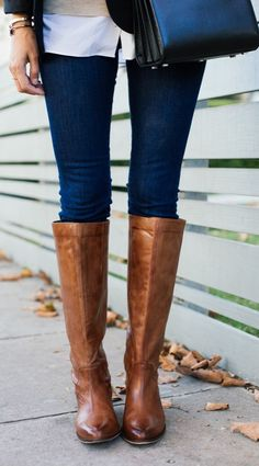 Long, sturdy, leather boots are a MUST for fall! Pair them with denim, neutral leggings, and your favorite skirts! We don't know how we'd stay fashionable through the fall and winter without a fabulous boot like these! How do you style your boots for this season?
