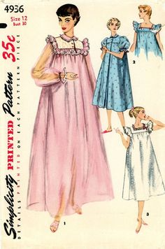 I used to receive one of these in flannel almost every year from my grandmother as a Christmas gift. Love the style, although I'm not much of a negligee fan. -- Vintage Sewing Pattern - Misses Nightgown and Short Negligee. Vintage Outfits, Vintage Dresses, Vintage Dress Patterns, Clothing Patterns, 1950s Fashion, Vintage Fashion, Nightgown Pattern, Vintage Nightgown, Fru Fru