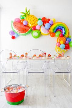 Teen Tutti Frutti Flavorites Rainbow Party – Kara's Party Ideas .com Teen Tutti Frutti Flavorites Rainbow Party Kara's Party Ideas Teen Tutti Frutti Flavorites Rainbow Party Fruit Birthday, 2nd Birthday Party Themes, Rainbow Birthday, First Birthday Parties, Birthday Party Decorations, Halloween Decorations, Teenager Party, Tutti Fruity Party, Rainbow Parties