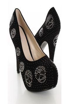 Black Skull Rhinestone heels