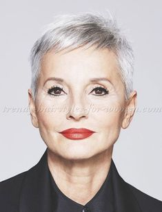 short hairstyles over 50 - pixie cut for grey hair Short Hairstyles Over 50, Short Pixie Haircuts, Older Women Hairstyles, Pixie Hairstyles, Trendy Hairstyles, Grey Hair Over 50, Short Grey Hair, Short Hair With Bangs, Short Hair Cuts