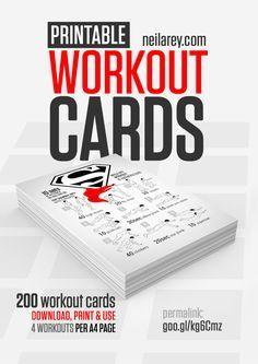 FREE PRINTABLE Workout Cards by Neila Rey (website is now called darebee)...This is a fun way to stay motivated throughout the year! Select a new card each day and get in a nice, quick workout! (GRAB THE LATEST UPDATE! Now with 500 workout cards! November 5, 2016)