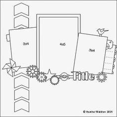 layout sketch; Scrapbook Layout Page Idea