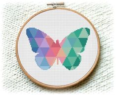 BOGO FREE Mosaic Butterfly Cross Stitch Pattern Modern We will continue to share the most beautiful Cross Stitch Geometric, Butterfly Cross Stitch, Modern Cross Stitch Patterns, Counted Cross Stitch Patterns, Cross Stitch Designs, Cross Stitch Embroidery, Embroidery Patterns, Cross Stitch Animals, Cross Stitch Kits
