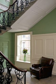 16 Calming Entrance Hall Color Ideas : 16 Calming Entrance Hall Color Ideas Picking the right color for your house is important. If you want people to feel welcomed as they first walk inside, try these calming entrance hall color ideas. Boys Bedroom Paint, Bedroom Wall Colors, Boys Bedroom Decor, Hallway Colours, Green Painted Walls, Blue Walls, White Walls, Hall Colour, Entrance Hall Decor