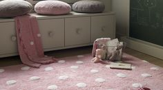 Washable Rug Dots Pink-White / Alfombra lavable Topos Rosa-Blanco Lorena Canals