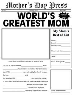 Mother's Day Press and more FREE printable newspapers on Frugal Coupon Living. These amke great DIY Mother's Day Ideas for Her.,