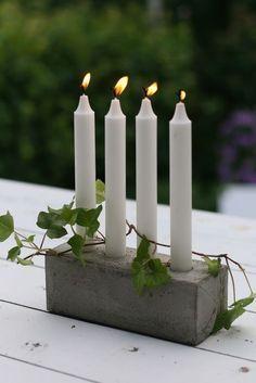 concrete candlestick idea milk carton box mould ivy decor