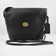 COACH Black Leather 1995 Quincy Flap Crossbody Handbag J5D-9919 USA MADE