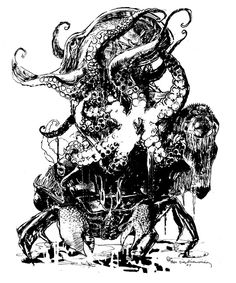 Electric Cthulu Acid Test by Bill Sienkiewicz * Graphic Novel Art, Octopus Art, Comic Book Pages, Ink Pen Drawings, Art Party, Art Studies, Cthulhu, Cool Artwork, Lovers Art