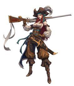 pirate gunner, left hand on ArtStation at https://www.artstation.com/artwork/mG2ve