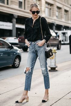 Blonde Woman Wearing Madewell Black Eyelet Blouse Levis Denim Ripped Skinny Jeans Chanel Slingbacks Gucci Marmont Handbag Fashion Jackson Dallas Blogger Fashion Blogger Street Style