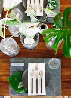 Slate charger + modern green centerpieces