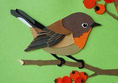 Roodborstje Paper Birds, Felt Birds, Diy Arts And Crafts, Felt Crafts, Paper Crafts Origami, Paper Crafting, Flower Art Images, Cut Out Art, Bird Applique