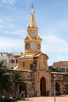 Puerta del Reloj Cartagena, COLOMBIA (by Gianluigi. Once the main entrance of Cartagena. Bolivia, Central America, South America, Santorini, Cartegena Colombia, Chile, Caribbean Beach Resort, Equador, Walled City