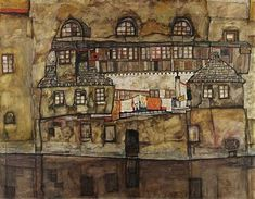 Image result for house wall on the river schiele