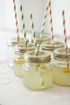 Mason Jar Sippers - so adorable! (Bad site link, but cute idea.  See shopsweetlulu.com to buy lids that will fit mason jars you can buy anywhere.)