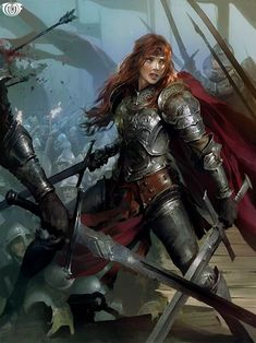 Ansel of Briarcliff: Hannah (Legend of the Cryptids ( concepts / concept / art / characters / character / digital / games / game / fantasy / armor / armour / sword / orange hair / ginger / female / swords / arrows / banners / metal / warrior / scales / chain mail / chainmail / flags / steel / red cape / battle / illustration / illustrative / splash art / design / human / )