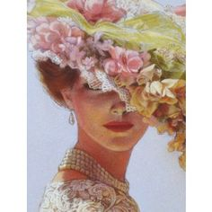 Victorian Lady flower hat art print ladies portrait lace fashion elegance poster of painting by Sue Halstenberg