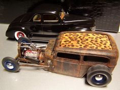 1/24 scale Ford rat rod.  Orange Crate body, 37 Ford pickup frame and flathead.