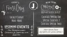 Chalkboard Specials Board Design. Custom Design. Digital Menu.
